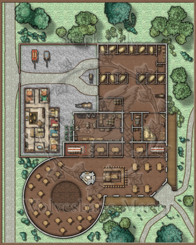 The Spit & Polish: A large tavern with a stable