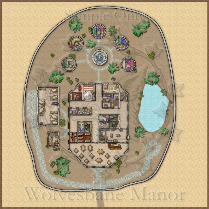 The Oasis: A large inn with a walled compound. Out building include stables, storage sheds, and private huts.